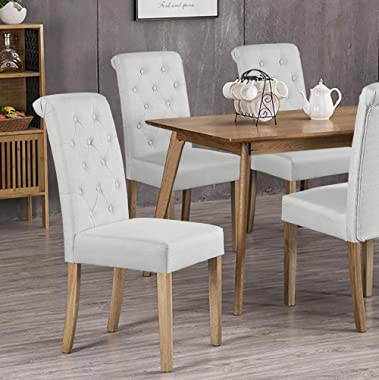 Yaheetech Dining Chairs Dining Room Chair Living Room Side Chairs Tufted Parsons Chairs with Solid Wood Legs for Hotel, Resta