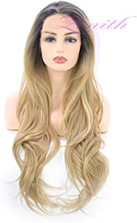 Zenith 2019 - Highlight Series Flawless Ombre Ash Blonde Lace Front Wigs African American Women Black Roots Blonde Hair Wigs with Highlights 24inches Long Wig 24inches
