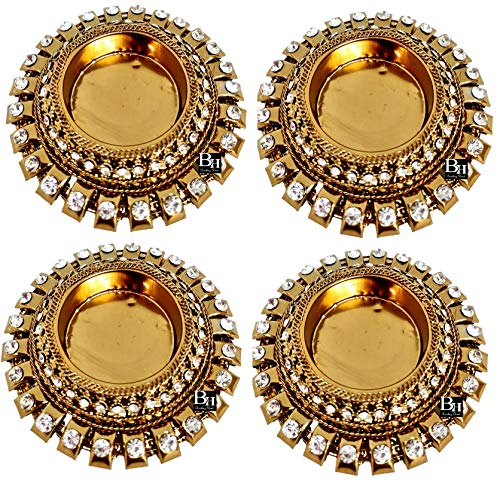 Bombay Haat Antique Gold Metal Diwali Diya Tealight Candle Holders for Diwali Home Decoration | Diwali Lights |Gift Items for Diwali | Home Decoration Items | Diwali Decoration Items for Home | (4)