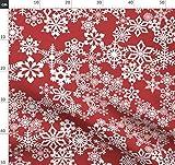 Schnee, Sterne, Rot, Weiß, Weihnachten, Schneeflocken,