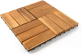 Villa Acacia Interlocking Wood Deck Tiles and Pavers for Outdoor Patio and Floors, 12 x 12 Inch, Pack of 10, 12 Slat