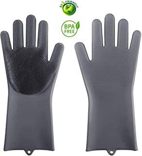 Magic Silicone Gloves Cleaning Sponge Gloves Dish washing Gloves Scrubber Silicone Gloves for Dish Washing Kitchen Bathroom Cleaning Car Washing