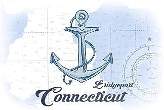 Bridgeport, Connecticut - Anchor - Blue - Coastal Icon (12x18 Art Print, Wall Decor Travel Poster)