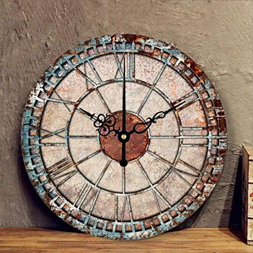 Reloj de Pared silencioso de Hierro de imitación, Reloj de Pared de decoración Retro Europeo, Reloj de Pared de Tienda de Marea de Hotel de Villa de óxido de Moda