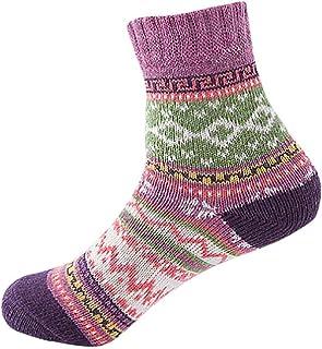 Invierno mujer de moda casual Vintage liso tejido fino impresión suave gruesa calcetines de lana de punto cálido