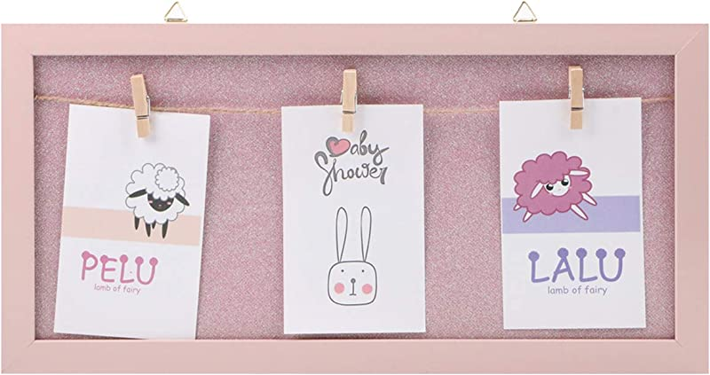 XIYUNTE Picture Frames With Clip Hold 16 8 40 20cm Shining Personalized Photo Frames Wood Picture Frames Photographs Wall Decor Office Room Hanged Photo Frame Home Decoration Pink