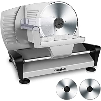 "Meat Slicers Electric, Food Deli Slicers with Two 7.5"" Serrated Stainless Steel Blade Upgrade Precisely Cuts Meat, Cheese, Bread, Fruit & Veggies, Adjustable Thickness Dial, Non-Slip Feet (2 Blade)"