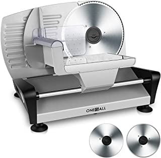 Electric Meat Slicer Food Deli Slicer Machine with 2 Interchangeable Stainless Steel Blades, ONEISALL 150W Professional Meat Deli Bread Food Slicer for Home Use, Adjustable Thickness/Removable 7.5'' Blades & Food Carriage/Blade Guard/ Non-Slip Feet