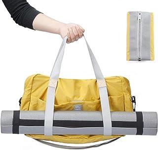 P.travel Foldable Waterproof Nylon Duffel Bag for Travel,Yellow,Large Lightweight Luggage Duffel