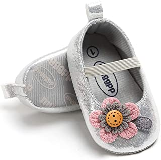 HONGTEYA Toddler Prewalker Flats Baby Girl Moccasins Princess Shoes Anti-Slip Soft Sole Summer Mary Janes