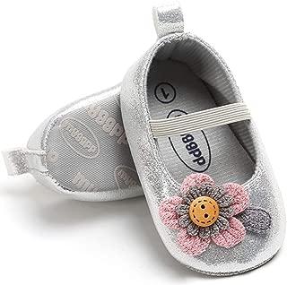 HONGTEYA Toddler Prewalker Flats Baby Girl Moccasins Princess Shoes Anti-Slip Soft Sole Summer Mary Janes