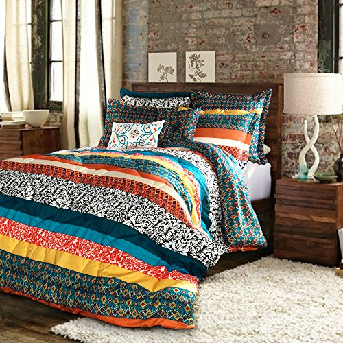 Lush Decor Boho Striped Comforter Bedding Colorful Pattern Bohemian Style Reversible 7 Piece Set, Full/Queen, Turquoise & Tangerine