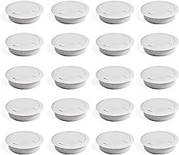 Emuca 3196315 Set van 20 ronde kabeldoorvoeringen, diameter 60 mm, voor het aanbrengen op bureau, van wit kunststof