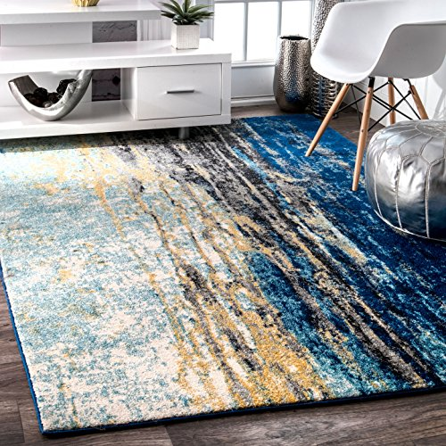 nuLOOM Traditional Waterfall Vintage Abstract Area Rug, 8' x 10', Blue