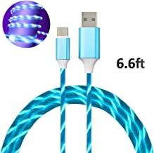 LED USB C Cable,6FT Light up Visible Flowing Lights Charging Cord for Samsung Galaxy S10 S9 S8 Plus Note 9 8, Moto Z, LG V30 V20 G5, Nintendo (Blue Light-Type C)