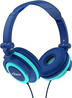 Puersit Kids Headphones Foldable Adjustable Stereo Earphone 3.5mm Jack Wired Cord On Ear Headset for iPad Smartphones Computer MP3/4 Tablet Kindle (Blue)