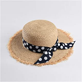 Straw hat Ladies Summer Beach Vacation Visor Flat top raw Polka dot Ribbon Sun hat` TuanTuan (Color : Navy)