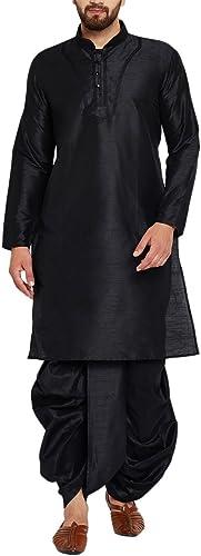 Royal Sojanya Hommes's Dupion Silk Dhoti Kurta Set XX-grand noir
