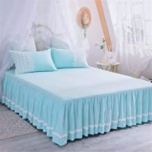 Bed Valances Cotton Ruffle Pleated fits Korean Version Romantic Lace Princess Bed Skirt Washable Easy Care Valance Fitted Sheets Double Bed Valance Pink Bed Skirt wrap