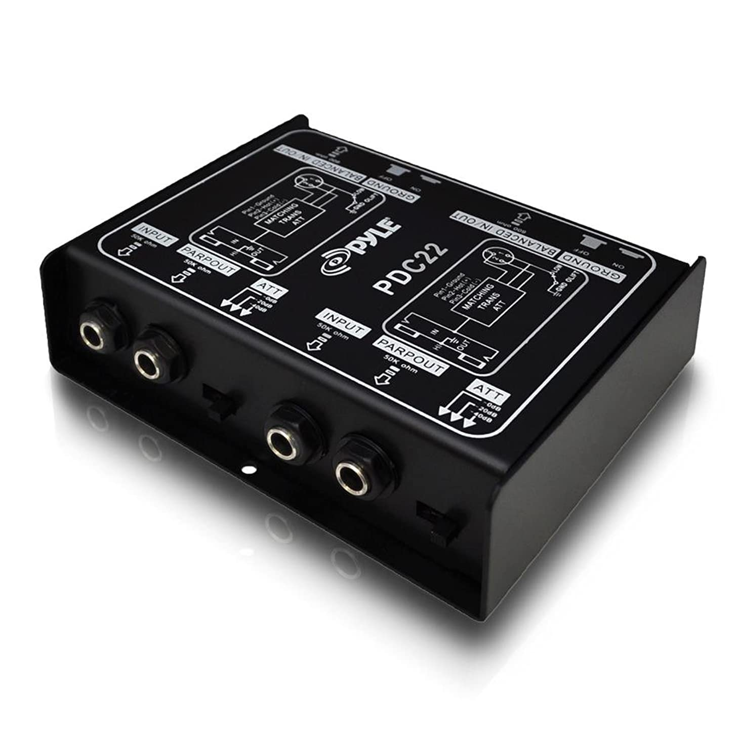Premium Direct Injection Audio Box - Passive DI Unit Hum Eliminator w/ Input Attenuator to Connect Guitar & Bass - 1/4 Inch Impedance Transformer Connector to Balanced & Unbalanced XLR - Pyle PDC22