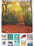 arteneur® - Herbst Wald - Anti-Schimmel Duschvorhang 180x200 mit Öko-Tex Standard 100 - Beschwerter Saum, Blickdicht, Wasserdicht, Waschbar, 12 Ringe und E-Book