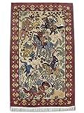 Alfombra de caza tradicional persa hecha a mano, lana/seda (aspectos más destacados), caqui, pequeño, 91 x 148 cm, 3 x 4 pies 10 pulgadas (pies)