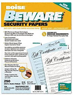Boise BSP-11UC-TL Beware Security Paper, Bus., Unauth. Copy, 8-1/2 X 11, Teal, 250/Pack by Boise