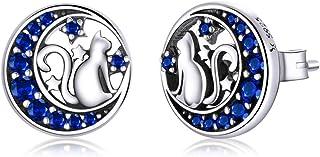GDDX - Pendientes de tuerca de plata de ley con forma de estrella y luna azul