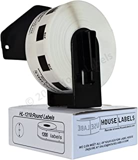 """1 Roll of HouseLabels Compatible with Brother DK-1219 Small Round Labels (Diameter 1/2"""" / 12mm; 1200 Labels per Roll) - Including ONE (1) Reusable Black Cartridge - BPA Free!"""