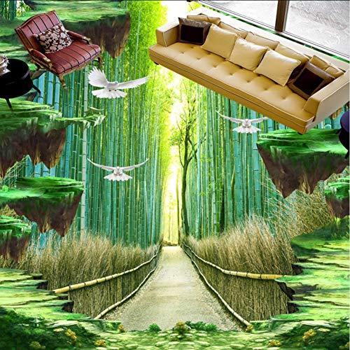 Wuyii Bamboe vloerbedekking, 3D klantspecifiek zelfklevend fotobehang-wandschilderij 350x250cm