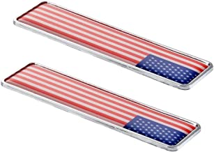 1797 Car Stickers Decals Accessories US USA America Flag Stars Stripes Metal Vehicle Decorations Emblem Door Bumper Trunk Tailgate Aluminum Alloy Waterproof Cute Funny Cool White Red Blue Pack of 2