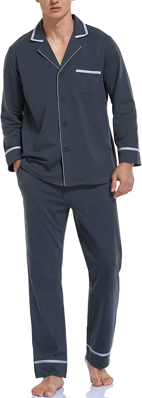 COLORFULLEAF Men's 100% Cotton Pajamas Set Long Sleeve Button Down Sleepwear Classic Top & Bottom PJs