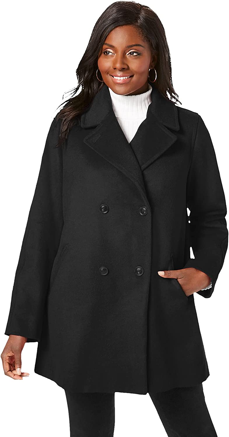 Jessica London Women's Plus Size A-Line Peacoat Winter Wool Double Breasted Coat