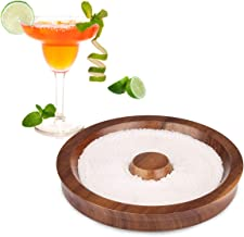 Margarita Salt Rimmer Bar Cocktails Sugar Rimming, Acacia Wood Glass Rimmer for Wide Glasses up to 5.5 Inches