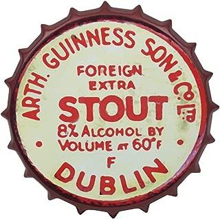 Guinness Vintage Aluminum Bottle Cap Sign (Red) - Metal Wall Decor