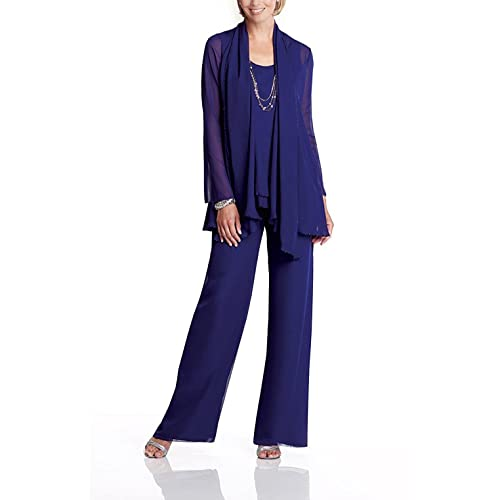 261e6485ba3 Fitty Lell Women s Chiffon Mother of The Bride Dress 3 Piece Pants Suit  with Jacket
