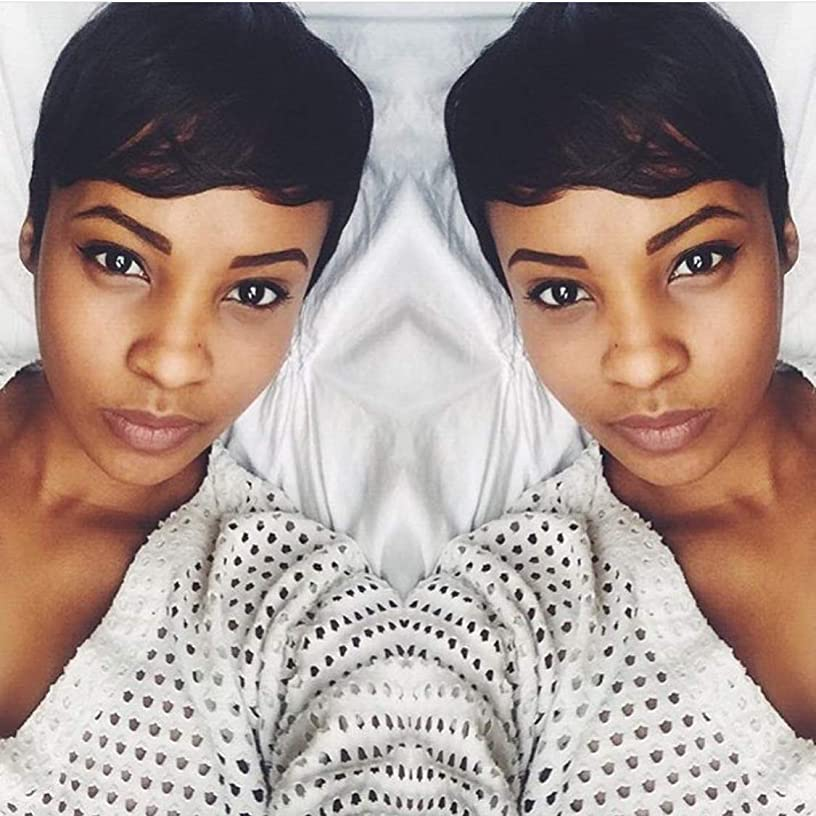 Huanya 100 Human Hair Short Pixie Wigs Short Human Hair Wigs Human Hair Short Bob Wigs for Black Women