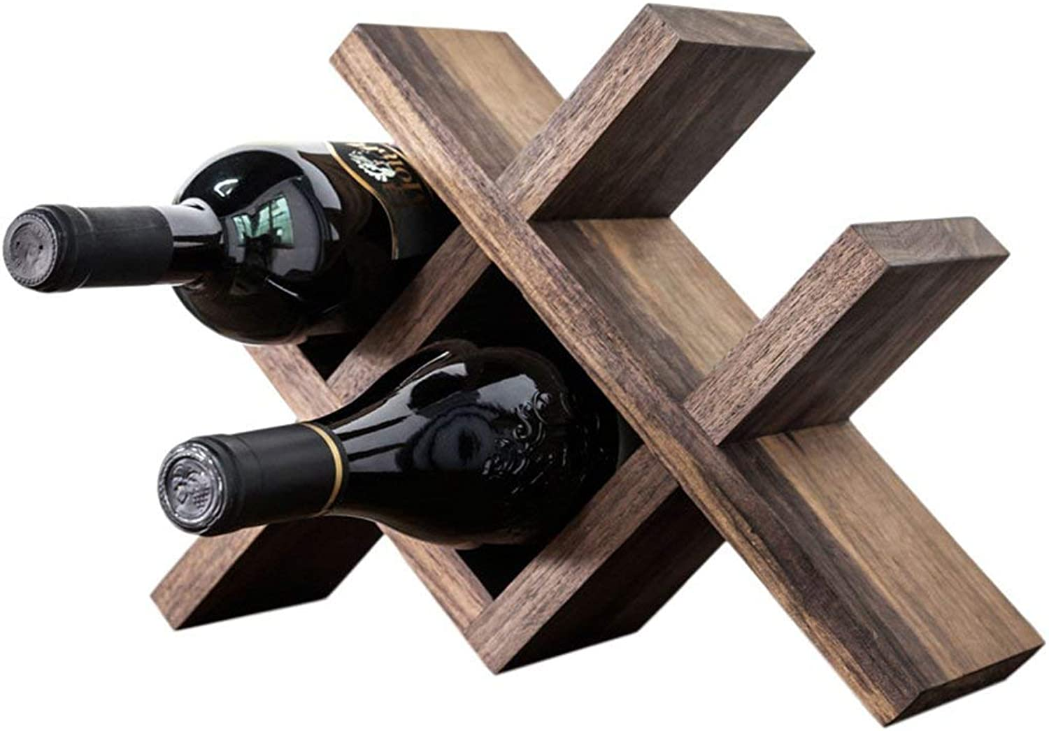 Red Wine Shelf Wine Rack Household Desktop Wood Wine Rack Solid Wood Frame Shelving Decoration Gifts and Happiness (color   Brown) (color   Brown)