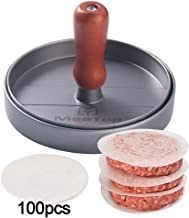 MeeTop Burger Press Non-Stick Patty Maker Aluminum Patty Mold Wooden Handle 4.7 inch with 100 Patty Papper Included Ideal for Hamburger BBQ Grill
