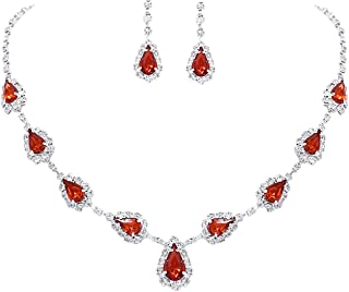 UDORA Red Teardrop Necklace Earrings Jewelry Set Wedding Party Prom