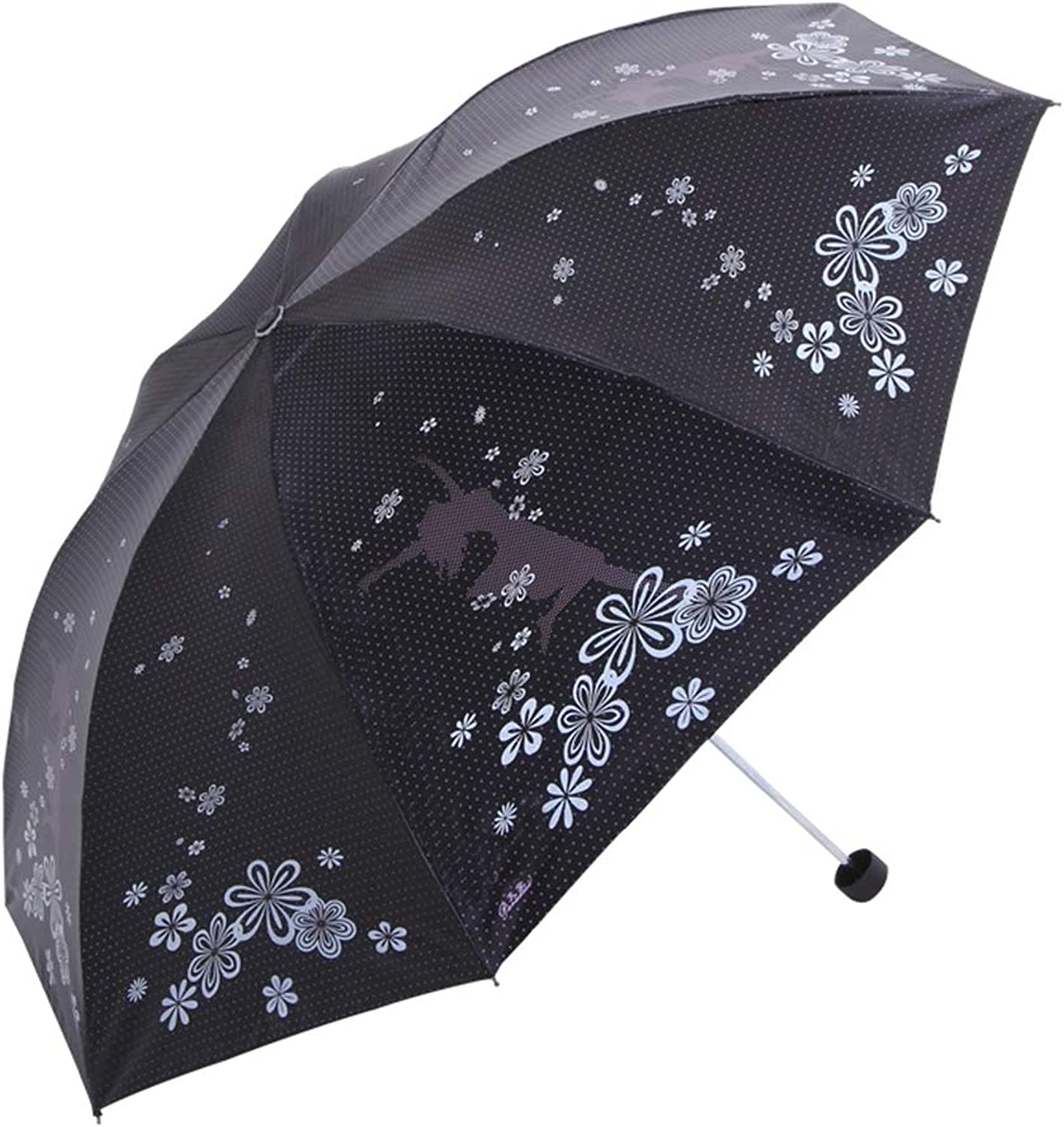 Travel Umbrella, New Fashion 3 Folding Umbrella Anti-UV Waterproof Portable Rain Umbrella Lightweight Compact Manual Sun Umbrellas for Women,Black
