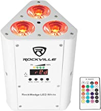 Rockville RGBWA+UV Rechargeable Wireless Wash DJ Up-Light in White (RockWedge LED