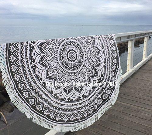 Aakriti Toalla de playa redonda con degradado estilo mandala indio, tapiz hippy, boho, mantel de algodón, mantel para picnic, esterilla de yoga, chal redondo, 182 cm, algodón, Gris, 180 cm
