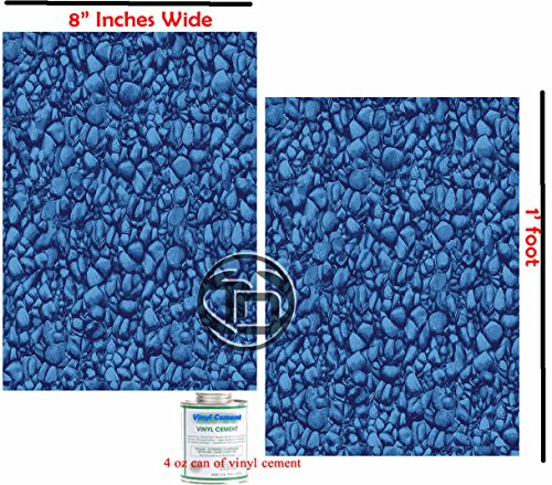"Vinyl Liner Swimming Pool Patch Kit (2) 8"" Inch x 1 Ft W/Glue, Above or Under Water Repair Safe, Strong & Durable."