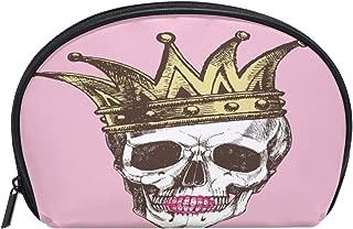 ALAZA Princess Skull Half Moon Cosmetic Makeup Toiletry Bag Pouch Travel Handy Purse Organizer Bag for Women Girls