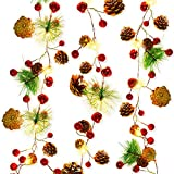 20 LED Christmas String Lights, 7 ft Pinecone Red Berry Bell Xmas Garland with Lights Battery Operated Fairy String Lights with Pine Cone Indoor Outdoor Holiday Christmas New Year Party Decorations