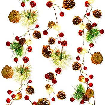 20 LED Christmas String Lights 7 ft Pinecone Red Berry Bell Xmas Garland with Lights Battery Operated Fairy String Lights with Pine Cone Indoor Outdoor Holiday Christmas New Year Party Decorations