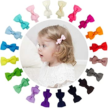 Ruyaa Hair Bow Clip for Baby Girl Fully Covered Non Slip for Fine Hair Small 2 Inch Toddler Girl Hair Accessories Assorted Solid Color Kid Hair Barrettes
