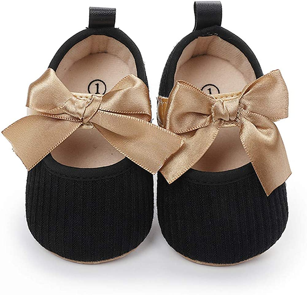 Bellocasa Baby Mary Jane Flats for Girls with Bowknot Cotton Anti Skid Sole Infant First Walker Princess Dress Crib Wedding Shoes