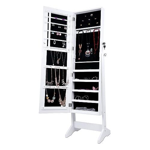 LANGRIA Armoire à Bijoux avec Miroir à Pied, 4 réglable Angles penchés, Un Stockage Spacieux pour Les Anneaux, Boucles d'oreilles, Bracelets, Broches